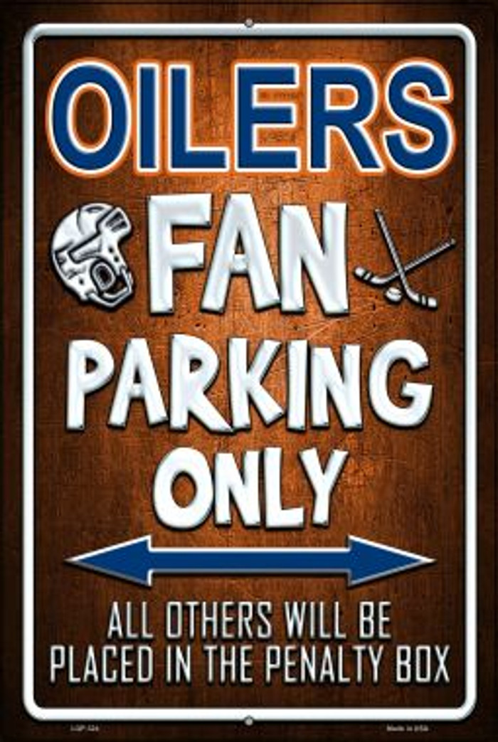 Oilers Novelty Metal Large Parking Sign LGP-324