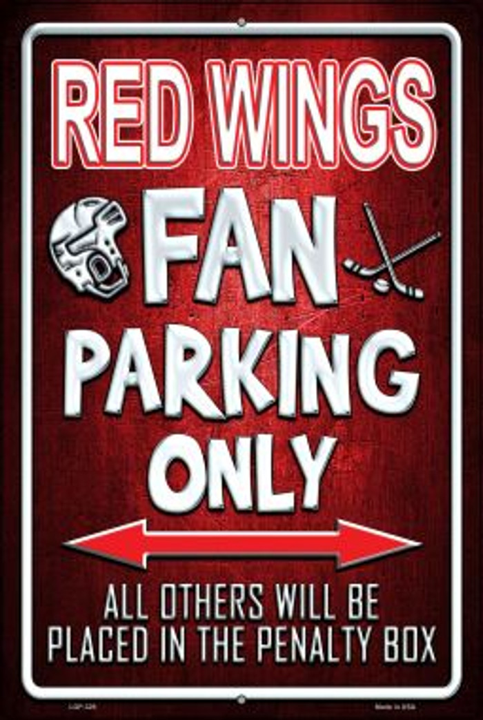 Red Wings Novelty Metal Large Parking Sign LGP-329