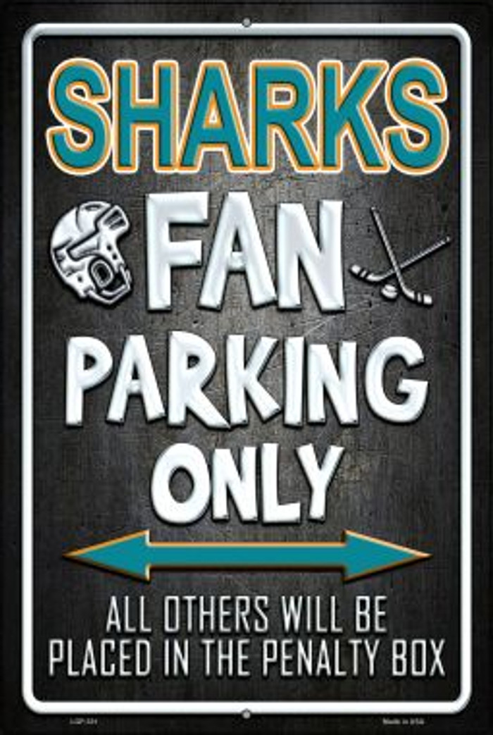 Sharks Novelty Metal Large Parking Sign LGP-331
