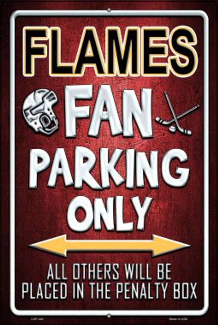 Flames Novelty Metal Large Parking Sign LGP-340