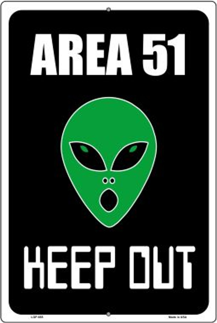 Area 51 Keep Out Novelty Metal Large Parking Sign LGP-655