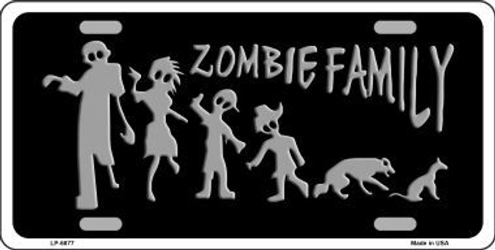 Zombie Family Black Novelty Metal License Plate LP-6877