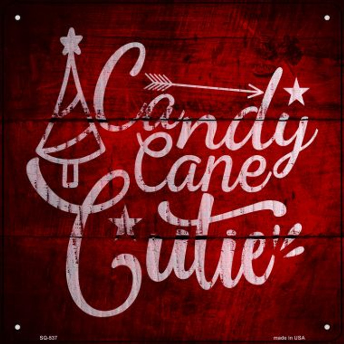 Candy Cane Cutie Novelty Metal Square Sign SQ-537