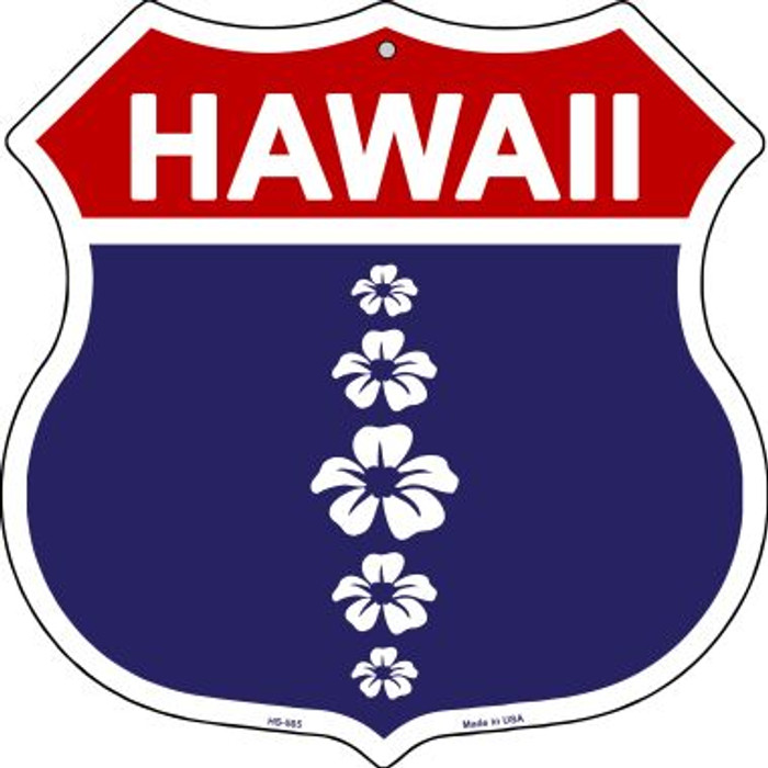 Hawaii Hibiscus Novelty Metal Highway Shield HS-565