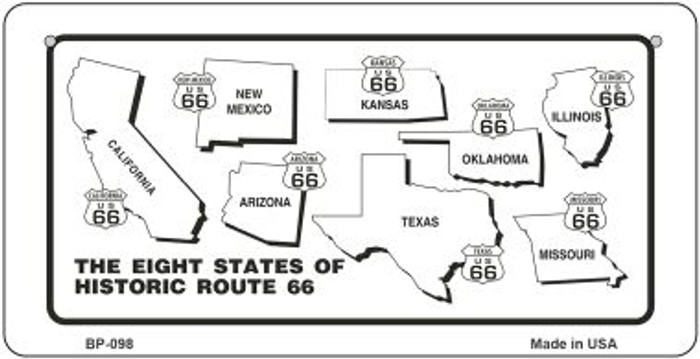 RT 66 Historic Eight Novelty Metal Bicycle Plate BP-098