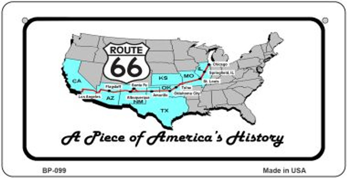 RT 66 A Piece of History Novelty Metal Bicycle Plate BP-099