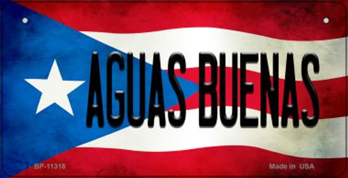 Aguas Buenas Puerto Rico State Flag Novelty Metal Bicycle Plate BP-11318