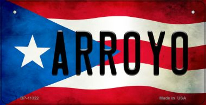 Arroyo Puerto Rico State Flag Novelty Metal Bicycle Plate BP-11322