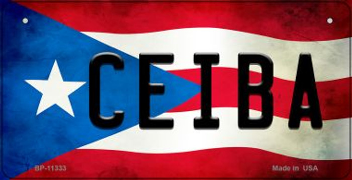 Ceiba Puerto Rico State Flag Novelty Metal Bicycle Plate BP-11333