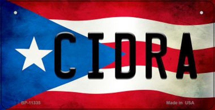 Cidra Puerto Rico State Flag Novelty Metal Bicycle Plate BP-11335