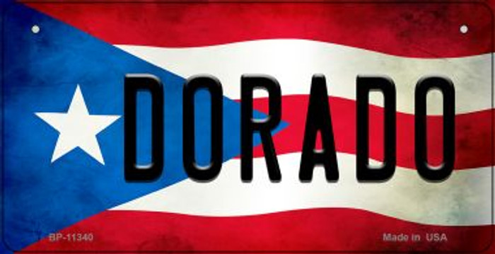 Dorado Puerto Rico State Flag Novelty Metal Bicycle Plate BP-11340