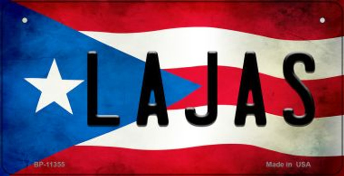 Lajas Puerto Rico State Flag Novelty Metal Bicycle Plate BP-11355