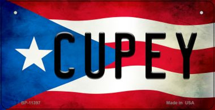 Cupey Puerto Rico State Flag Novelty Metal Bicycle Plate BP-11397