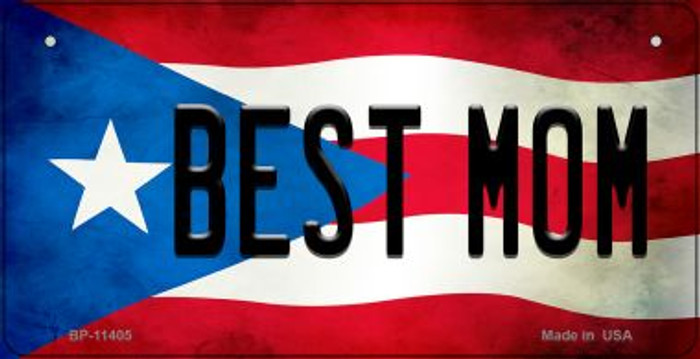 Best Mom Puerto Rico State Flag Novelty Metal Bicycle Plate BP-11405