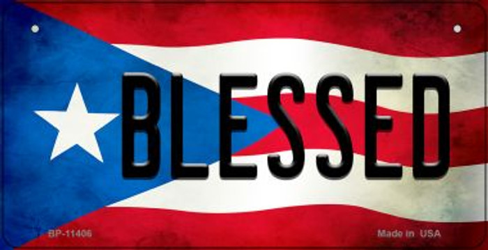 Blessed Puerto Rico State Flag Novelty Metal Bicycle Plate BP-11406