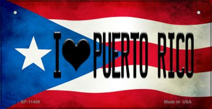 I Love Puerto Rico Puerto Rico State Flag Novelty Metal Bicycle Plate BP-11409