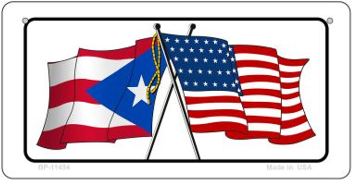 Puerto Rico / USA Flag Novelty Metal Bicycle Plate BP-11454
