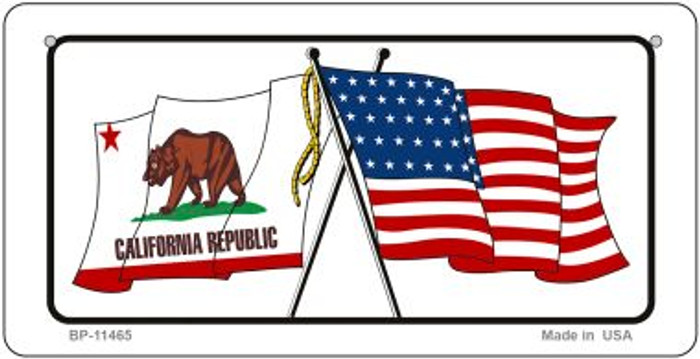 California / USA Flag Novelty Metal Bicycle Plate BP-11465