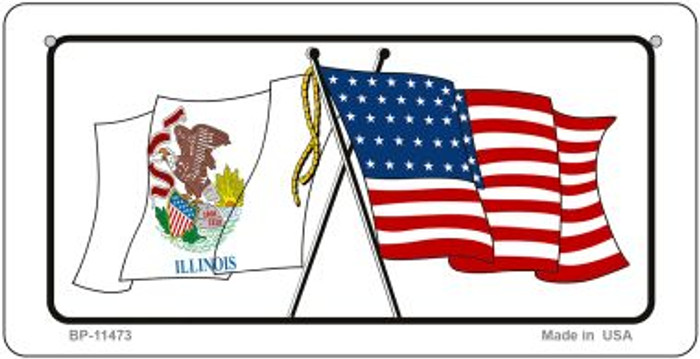 Illinois / USA Flag Novelty Metal Bicycle Plate BP-11473