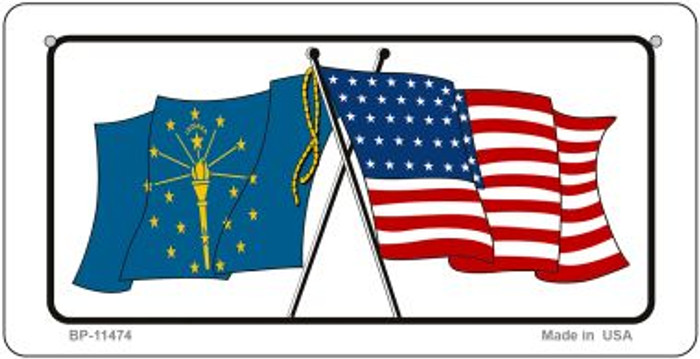 Indiana / USA Flag Novelty Metal Bicycle Plate BP-11474