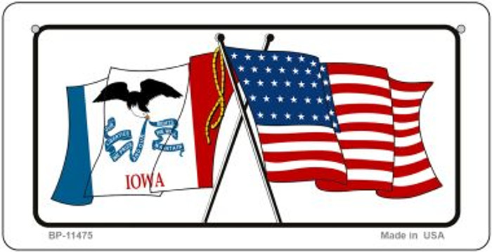 Iowa / USA Flag Novelty Metal Bicycle Plate BP-11475