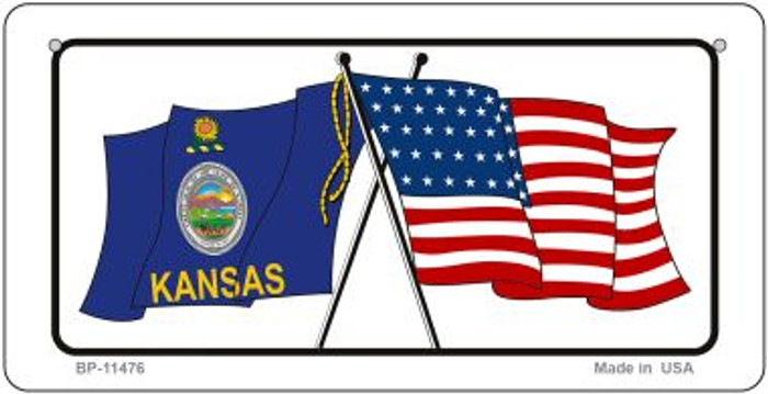 Kansas / USA Flag Novelty Metal Bicycle Plate BP-11476