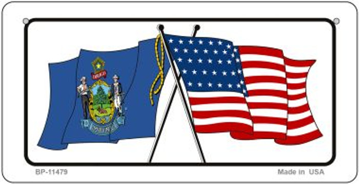 Maine / USA Flag Novelty Metal Bicycle Plate BP-11479