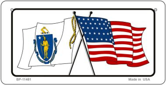 Massachusetts / USA Flag Novelty Metal Bicycle Plate BP-11481