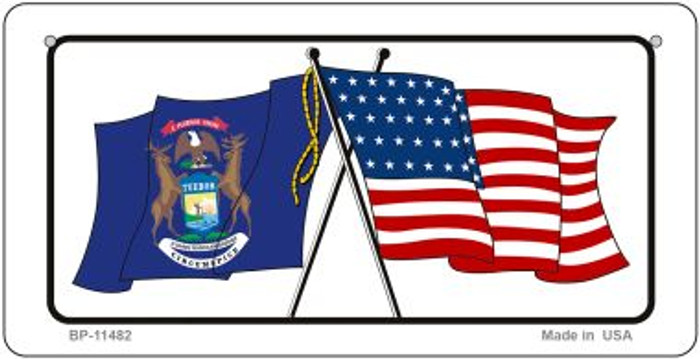 Michigan / USA Flag Novelty Metal Bicycle Plate BP-11482