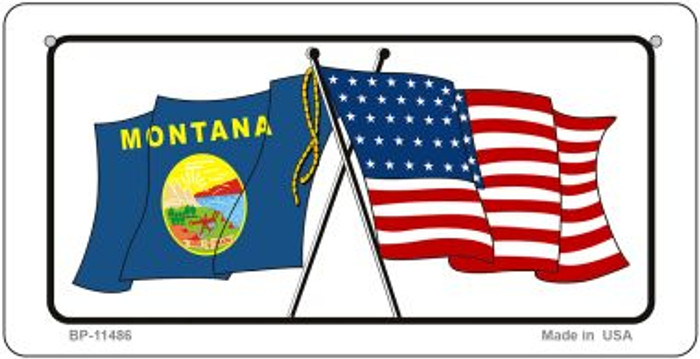 Montana / USA Flag Novelty Metal Bicycle Plate BP-11486