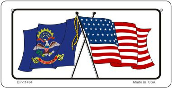 North Dakota / USA Flag Novelty Metal Bicycle Plate BP-11494
