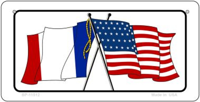 France / USA Flag Novelty Metal Bicycle Plate BP-11512