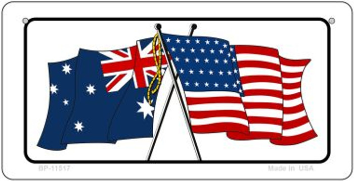 Australia / USA Flag Novelty Metal Bicycle Plate BP-11517