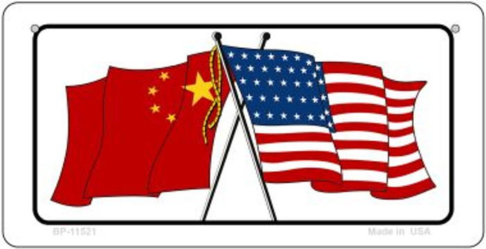China / USA Flag Novelty Metal Bicycle Plate BP-11521