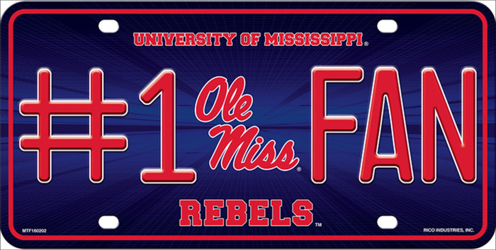 Ole Miss Fan Deluxe Metal Novelty License Plate LP-5510