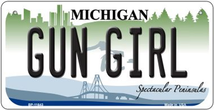 Gun Girl Michigan Novelty Metal Bicycle Plate BP-11643