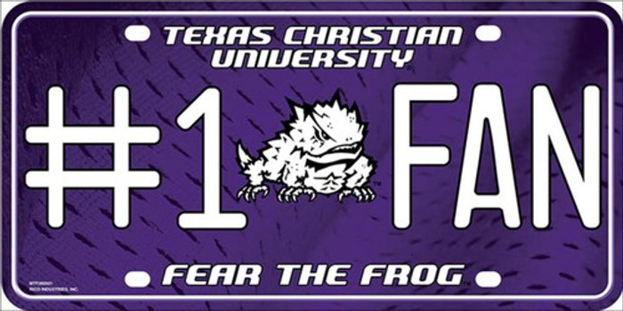 Texas Christian Fan Deluxe Metal Novelty License Plate
