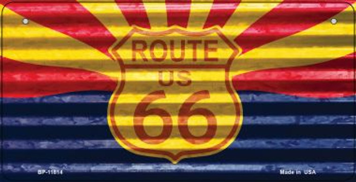 Arizona Route 66 Corrugated Novelty Metal Bicycle Plate BP-11814