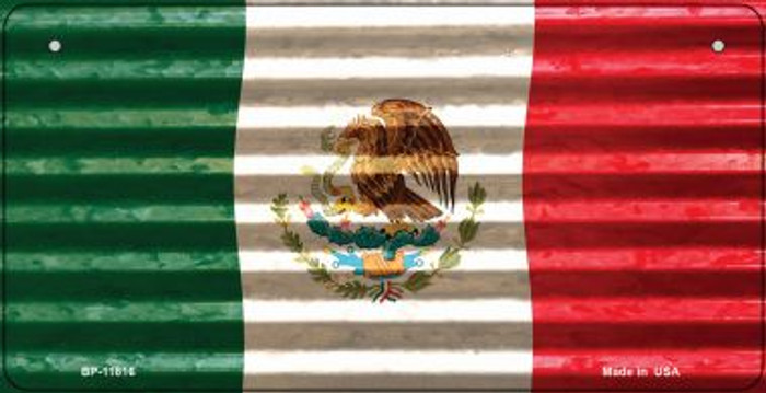 Mexico Flag Corrugated Novelty Metal Bicycle Plate BP-11816