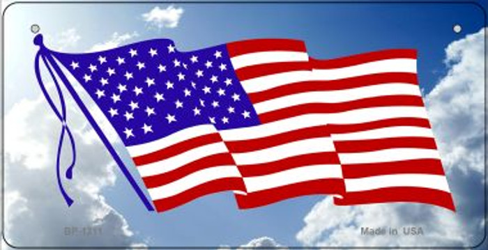 American Flag Clouds Novelty Metal Bicycle Plate BP-1211