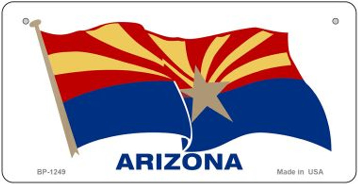 Arizona Flag Waving Novelty Metal Bicycle Plate BP-1249