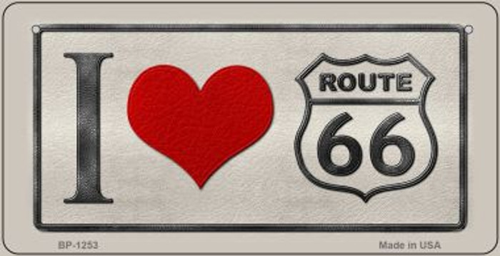 I Love Route 66 Novelty Metal Bicycle Plate BP-1253