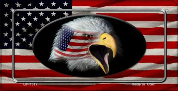 American Flag With Eagle Novelty Metal Bicycle Plate BP-1317