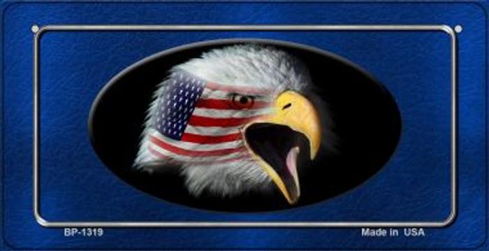 American Eagle Blue Novelty Metal Bicycle Plate BP-1319