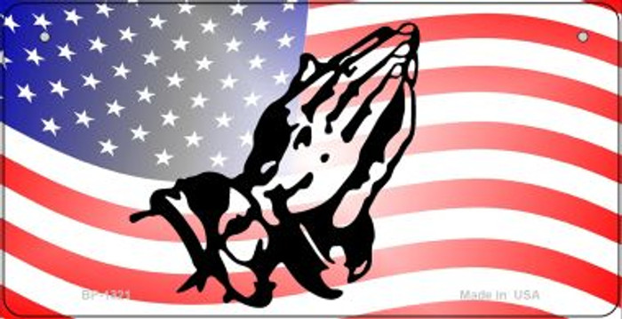 American Flag Praying Hands Novelty Metal Bicycle Plate BP-1321