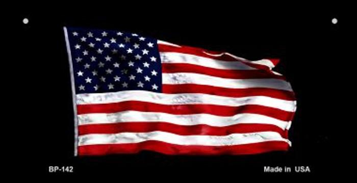 American Waving Flag Black Novelty Metal Bicycle Plate BP-142