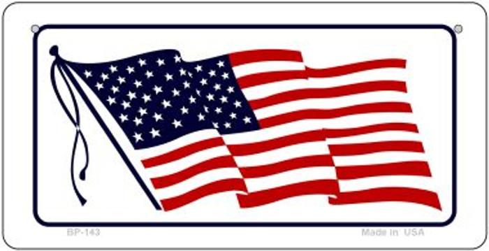 American Waving Flag White Novelty Metal Bicycle Plate BP-143