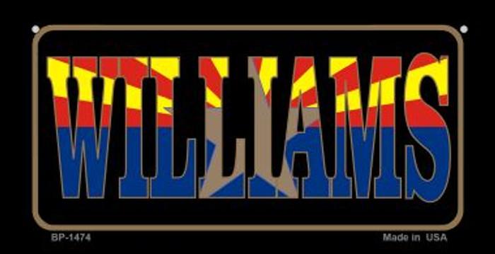 Williams Arizona With Flag Novelty Metal Bicycle Plate BP-1474