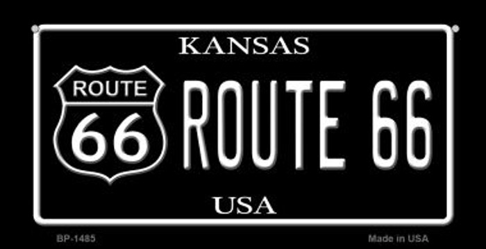 Route 66 Kansas Novelty Metal Bicycle Plate BP-1485
