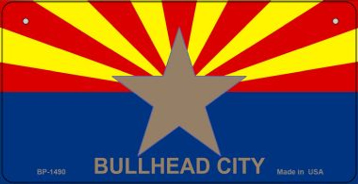 Bullhead City Arizona Flag Novelty Metal Bicycle Plate BP-1490